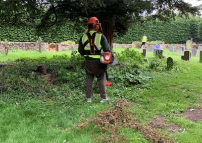 Overgrown churchyard clearance in Leybourne, Kent