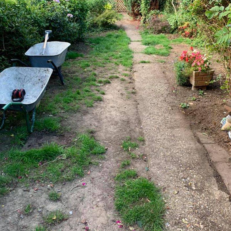 Garden prior to re-turfing