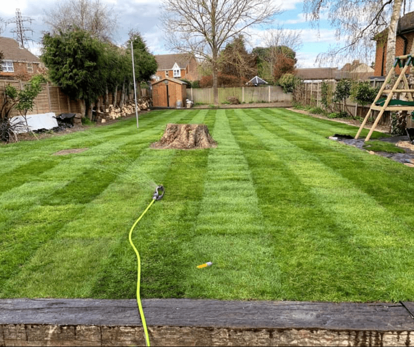 New turfing being laid in Sittingbourne Kent
